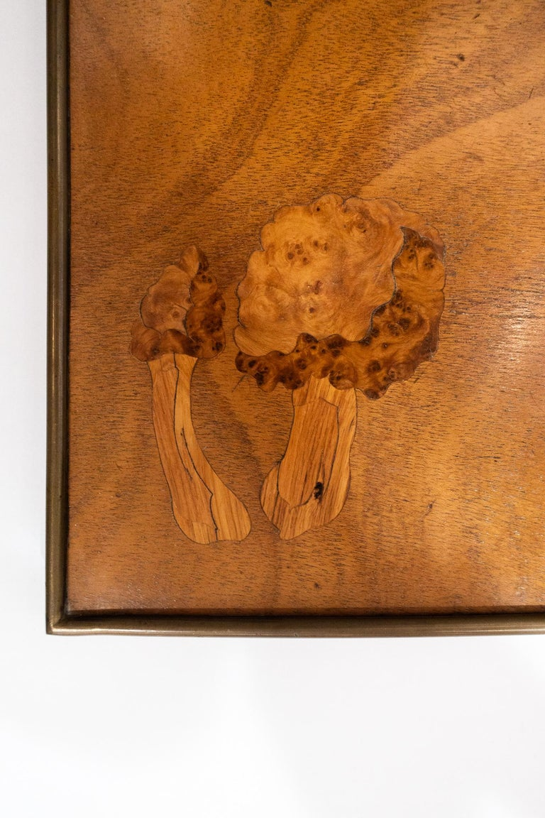 Inlay Inlaid Wooden Panel with Mushrooms and a Butterfly, Signed Christian Dior, Paris For Sale