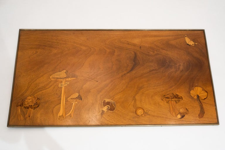 20th Century Inlaid Wooden Panel with Mushrooms and a Butterfly, Signed Christian Dior, Paris For Sale