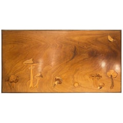 Inlaid Wooden Panel with Mushrooms and a Butterfly, Signed Christian Dior, Paris