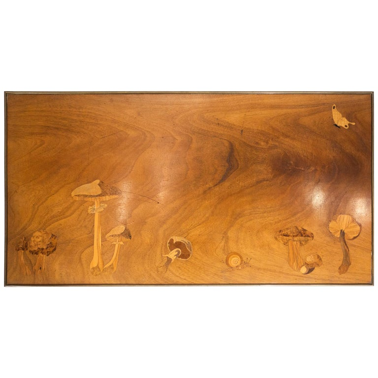 Inlaid Wooden Panel with Mushrooms and a Butterfly, Signed Christian Dior, Paris For Sale
