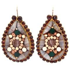 Inlay Agate, Quartz, Stone Dangle Drop Pierced Earrings Pair Of