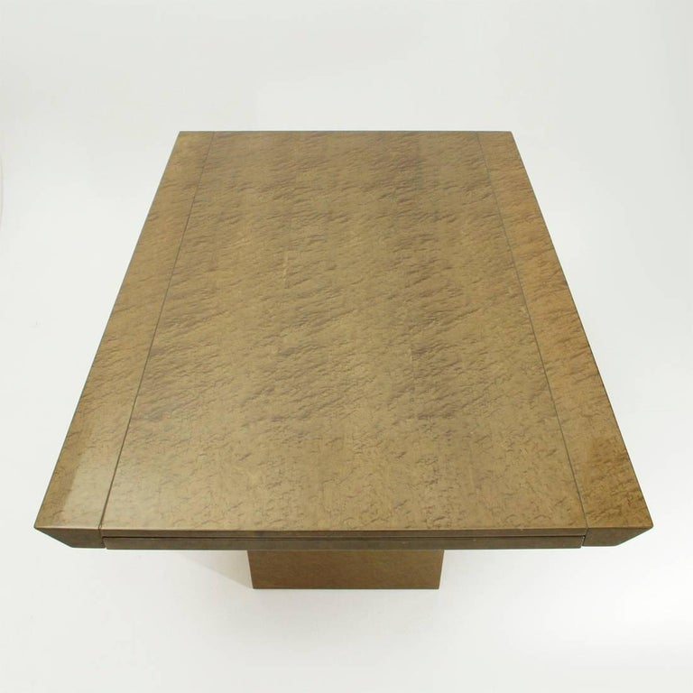 Mid-Century Modern Inlay Extendable Table by Giovanni Offredi for Saporiti, 1980s For Sale