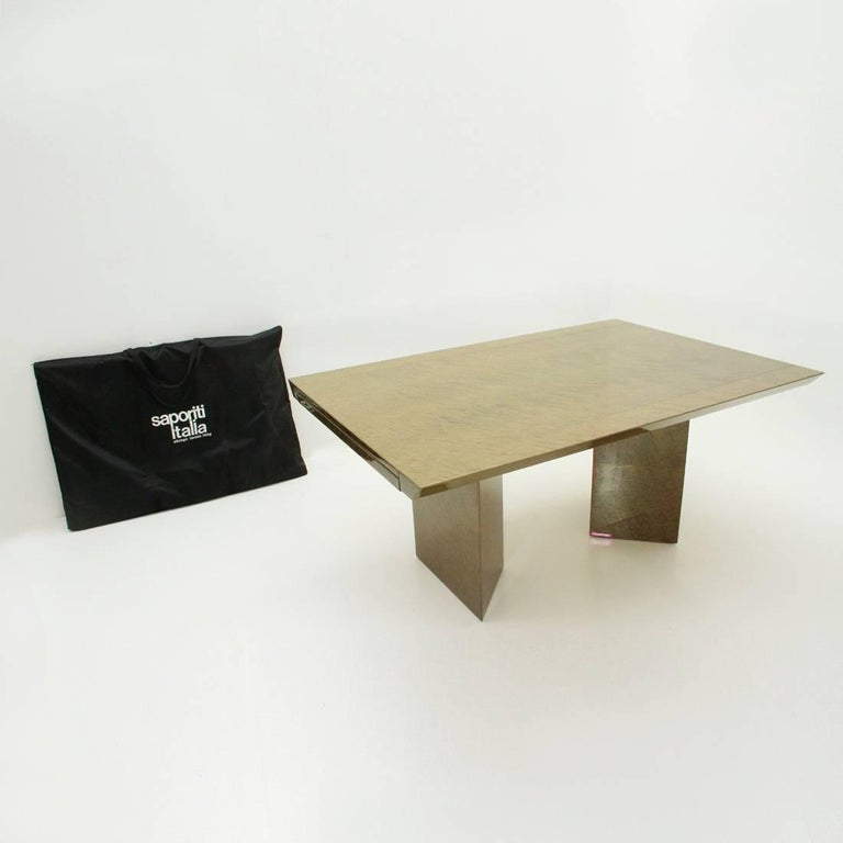 Italian Inlay Extendable Table by Giovanni Offredi for Saporiti, 1980s For Sale