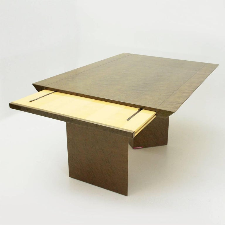 Inlay Extendable Table by Giovanni Offredi for Saporiti, 1980s In Good Condition For Sale In Savona, IT