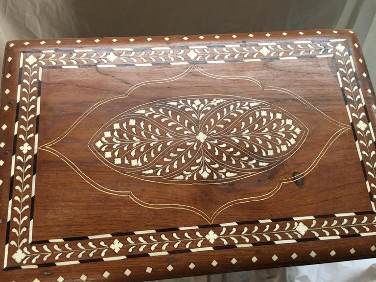 Indian Inlay Teak Chest on Stand, Early 1900s For Sale