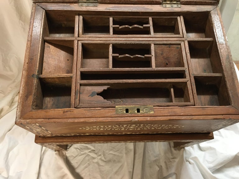 Inlay Teak Chest on Stand, Early 1900s For Sale 1