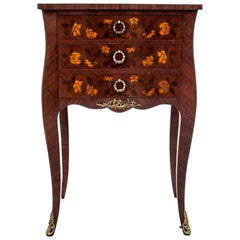 Inlayed Antique Chest of Drawers, Bedside Table