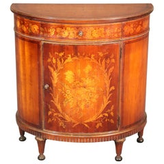 Inlaid Satinwood Adams Style Demilune Commode Nightstand, circa 1920s