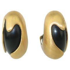 Inna Cytrine Brushed Gold Metal & Black Sculptural Clip On Earrings