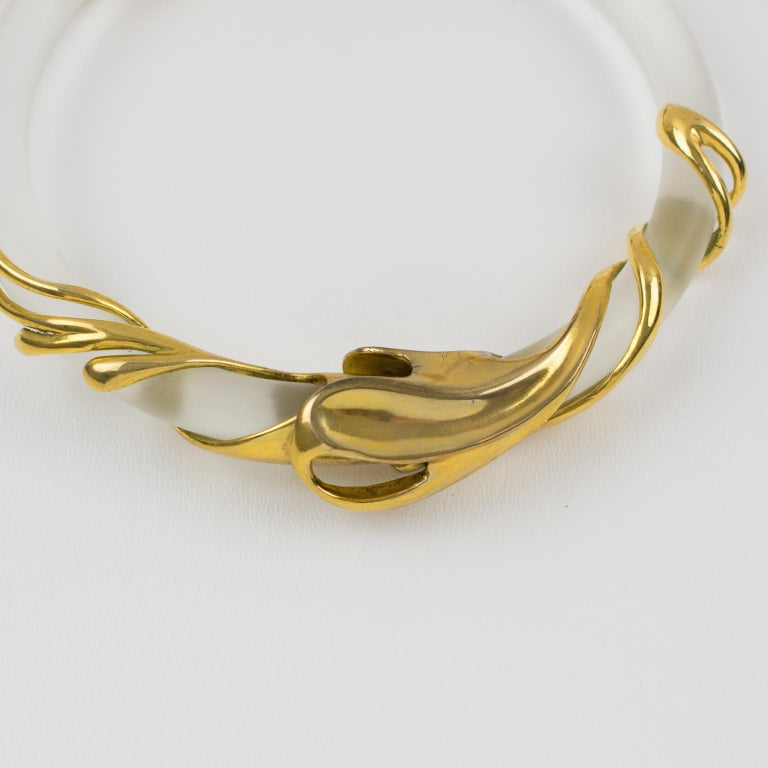 Inna Cytrine Gilded Metal and Frosted Lucite Futurist Collar Necklace For Sale 11