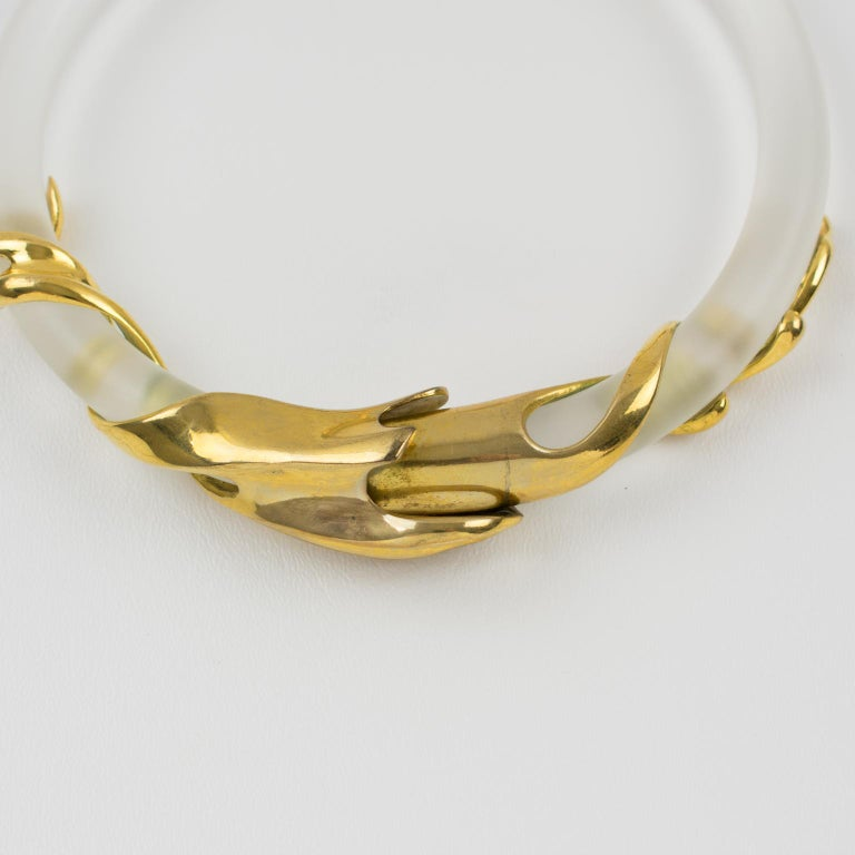 Inna Cytrine Gilded Metal and Frosted Lucite Futurist Collar Necklace For Sale 12
