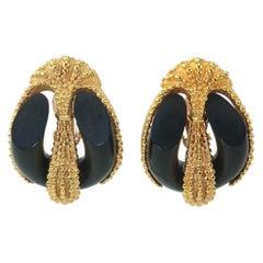 Inna Cytrine Gold Tone & Black Clip On Earrings, 1980's