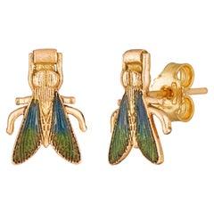 Innana Earrings, 18 Karat Rose Gold with Enamel Inlay