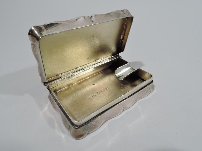 Innovative English Sterling Silver Snuffbox-Cum-Portable Ashtray In Excellent Condition In New York, NY