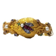 Insect Ruby Emerald Sapphire Pearl Mixed Stone Bangle 18 Karat Gold Bracelet