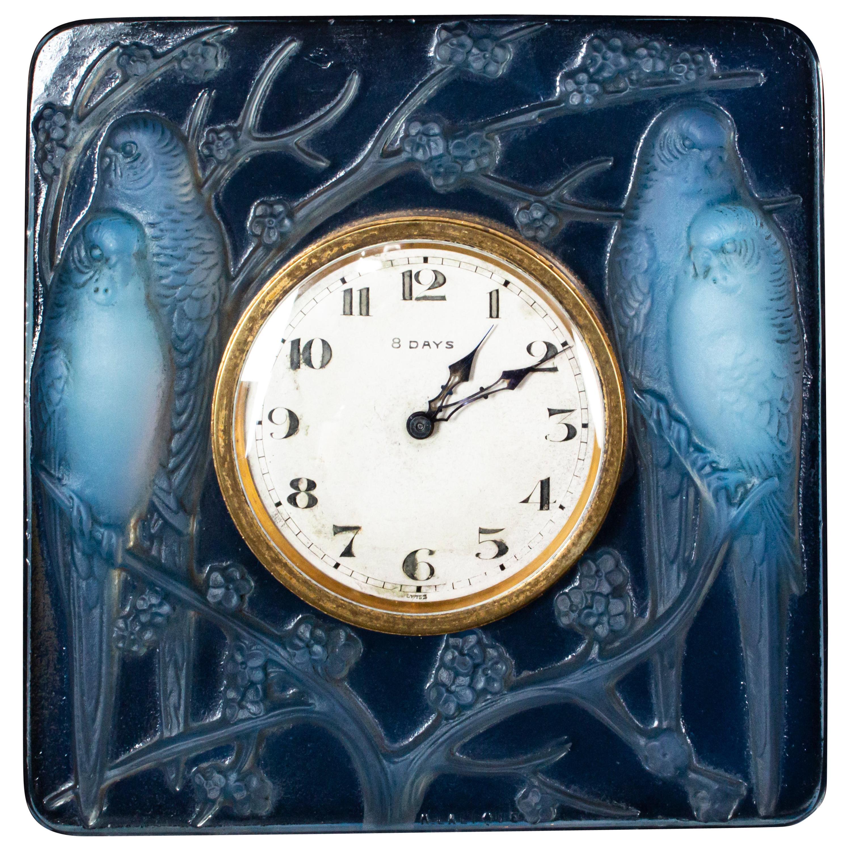 Inséparables, Blue Opalescent Glass, 8 Day Swiss Art Deco Clock by René Lalique