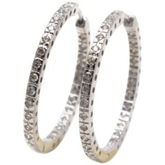 Inside and Out Diamond 54 Diamond in White Gold Hoop Earrings