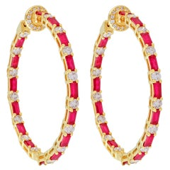 Inside Out Baguette Ruby Diamond 18 Karat Gold Hoop Earrings