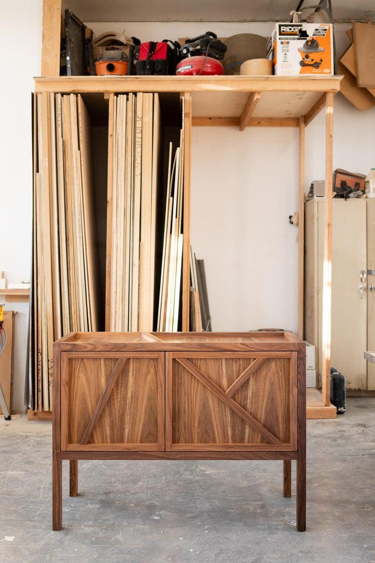 American Inside-Out Corto, Sideboard Cabinet, Fine Lacquer Cerulean Blue Walnut Credenza For Sale