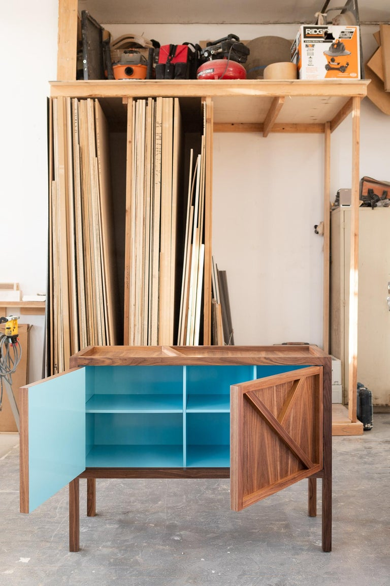 Lacquered Inside-Out Corto, Sideboard Cabinet, Fine Lacquer Cerulean Blue Walnut Credenza For Sale