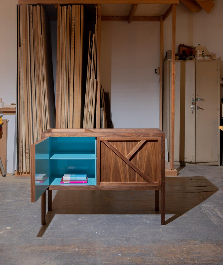 Inside-Out Corto, Sideboard Cabinet, Fine Lacquer Cerulean Blue Walnut Credenza In New Condition For Sale In Brooklyn, NY
