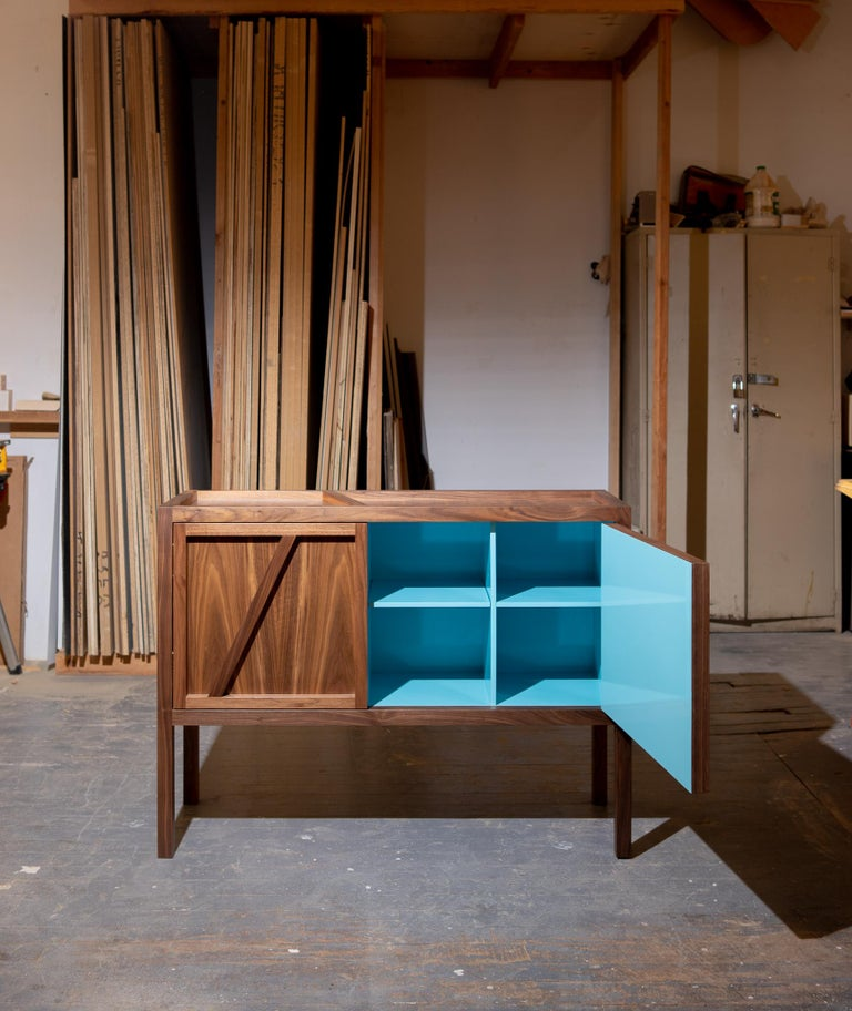 Contemporary Inside-Out Corto, Sideboard Cabinet, Fine Lacquer Cerulean Blue Walnut Credenza For Sale