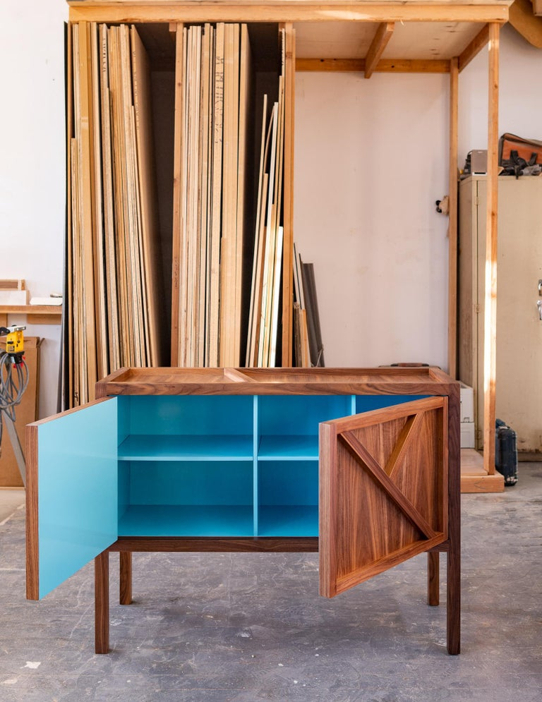 Wood Inside-Out Corto, Sideboard Cabinet, Fine Lacquer Cerulean Blue Walnut Credenza For Sale
