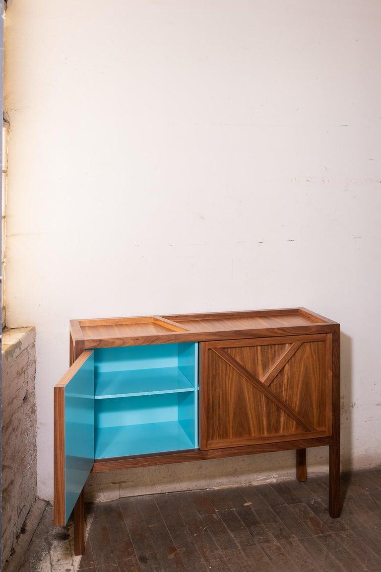Inside-Out Corto, Sideboard Cabinet, Fine Lacquer Cerulean Blue Walnut Credenza For Sale 1