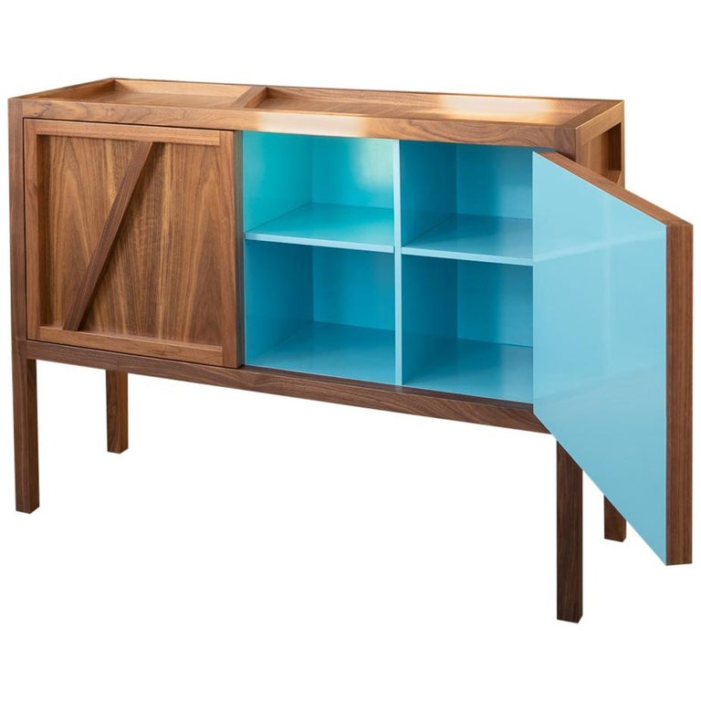 Inside-Out Corto, Sideboard Cabinet, Fine Lacquer Cerulean Blue Walnut Credenza For Sale