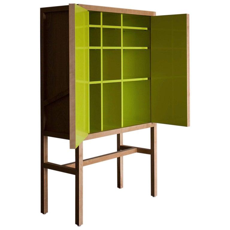 Inside-Out Credenza Lungo, Fine Cupboard Lacquer Finish, Liquor Buffet (Walnut) For Sale