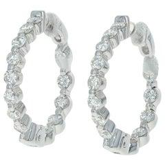 Inside-Out Diamond Hoop Earrings, 14 Karat Gold Pierced Round Cut 1.03 Carat