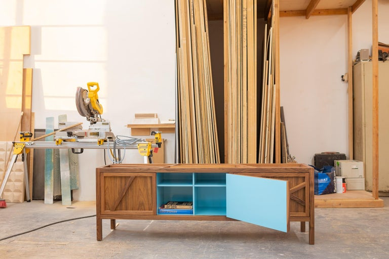 American Inside-Out Largo Sideboard Cabinet, Credenza, Fine Lacquer Cerulean Blue, Walnut For Sale