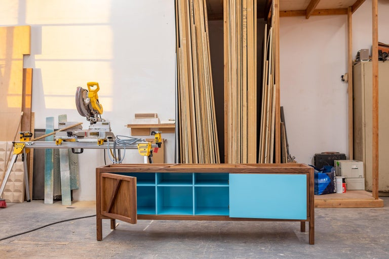 Lacquered Inside-Out Largo Sideboard Cabinet, Credenza, Fine Lacquer Cerulean Blue, Walnut For Sale