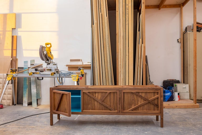 Inside-Out Largo Sideboard Cabinet, Credenza, Fine Lacquer Cerulean Blue, Walnut In New Condition For Sale In Brooklyn, NY