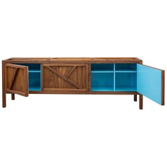 Inside-Out Largo Sideboard Cabinet, Credenza, Fine Lacquer Cerulean Blue, Walnut