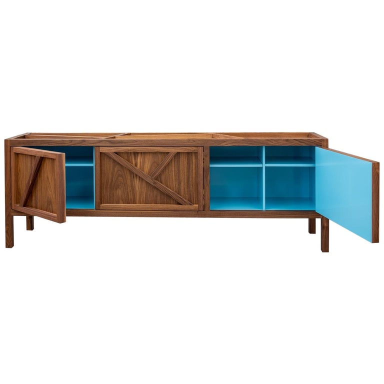 Inside-Out Largo Sideboard Cabinet, Credenza, Fine Lacquer Cerulean Blue, Walnut For Sale