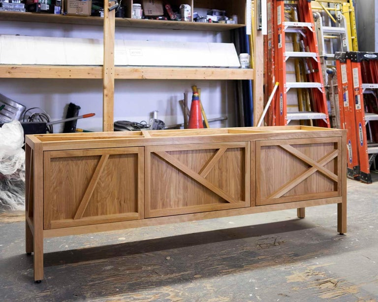 Canadian Inside-Out sideboard Cabinet Largo, Fine Lacquer Pink Credenza, cupboard walnut For Sale