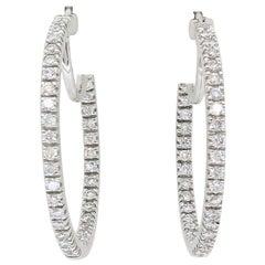 Inside Out Style Diamond Hoop Earrings in 18 Karat White Gold