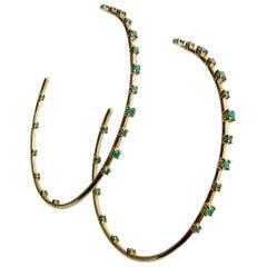 Inside Outside 14K Yellow Gold Emerald Hoop Earrings, Ariana II Emerald Earring