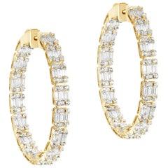 Inside- Outside Baguette and Princess Diamond Hoop Earrings
