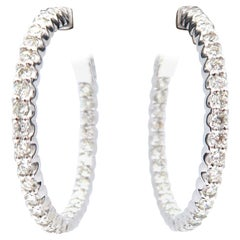 Inside Outside Diamond Hoop Earrings 18 Karat Gold