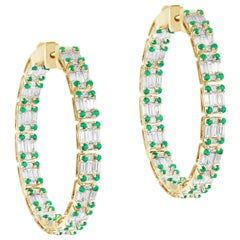 Goshwara Inside-Outside  Emerald and Diamond Hoop Earrings