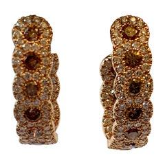 Inside/Outside Round 18 Karat Gold Champagne and White Diamond Hoop Earrings