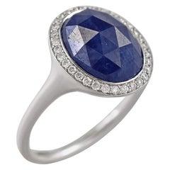 Inspired Blue Sapphire White Diamond Gold 18 Karat Ring