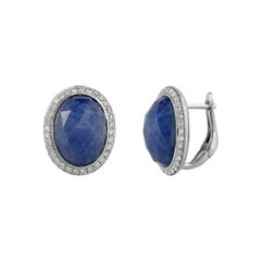Inspired Blue Sapphire White Diamond Gold 18 Karat Earrings