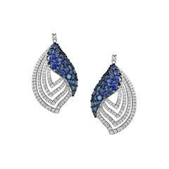 Inspired Blue Sapphire White Diamond Gold Drop Earrings