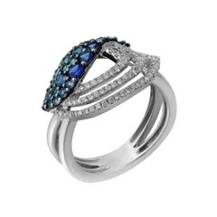 Inspired Blue Sapphire White Diamond Gold Drop Ring