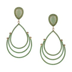 Inspired by Nature Aventurine Yellow Gold Drop Dangle Earrings