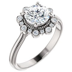 Inspired Halo Diamond Accented GIA Certified Round Engagement Ring