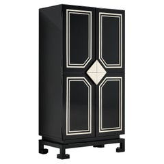 Inspired Paco Rabanne Cabinet in Lacquered Wood and Faux Ivory